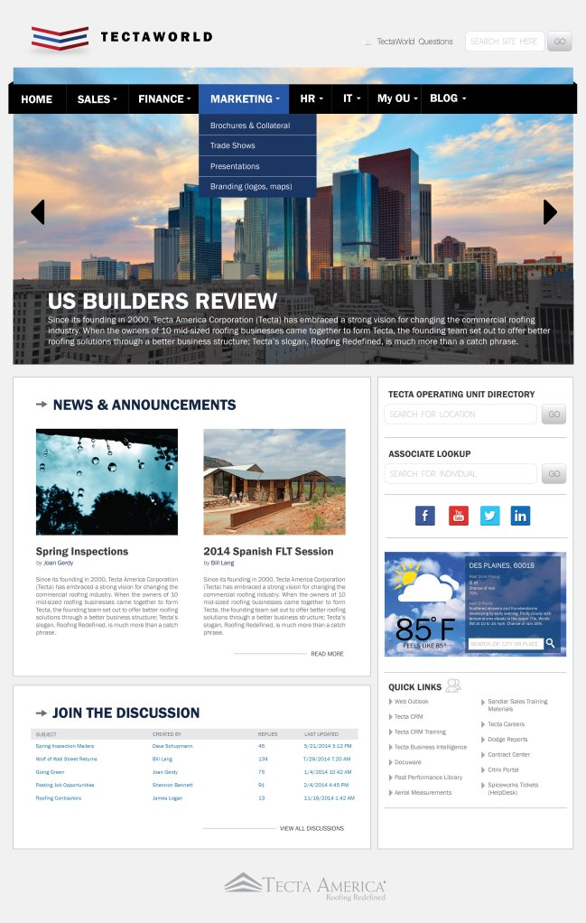 Tecta America Website Template, Intranet
